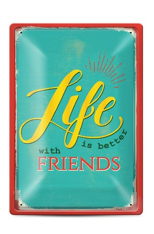 Продукт - Метална табелка - A4 - Life is better with friends