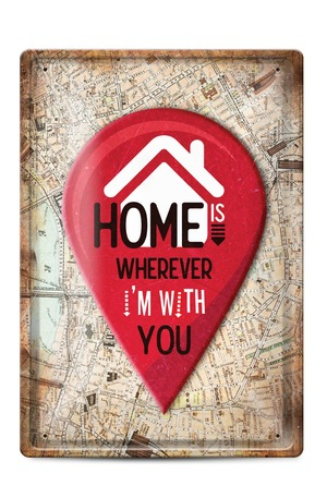 Продукт - Метална табелка - A4 - Home is wherever i'm with you