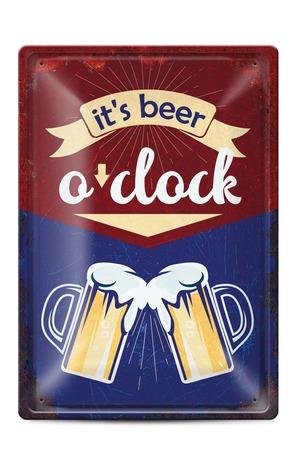 Продукт - Метална табелка - A4 - It's beer o'clock
