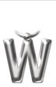 Метален ключодържател - буква W
