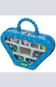 Чантичка с пластмасови мъниста - синя