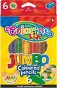 Jumbo Цветни моливи - 6 цвята